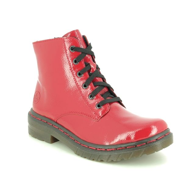 Rieker Lace Up Boots - Red patent - 76240-33 DOCSY 05