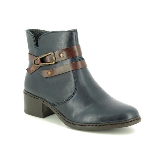 Rieker Ankle Boots - Navy-Tan - 77683-15 AMBOR