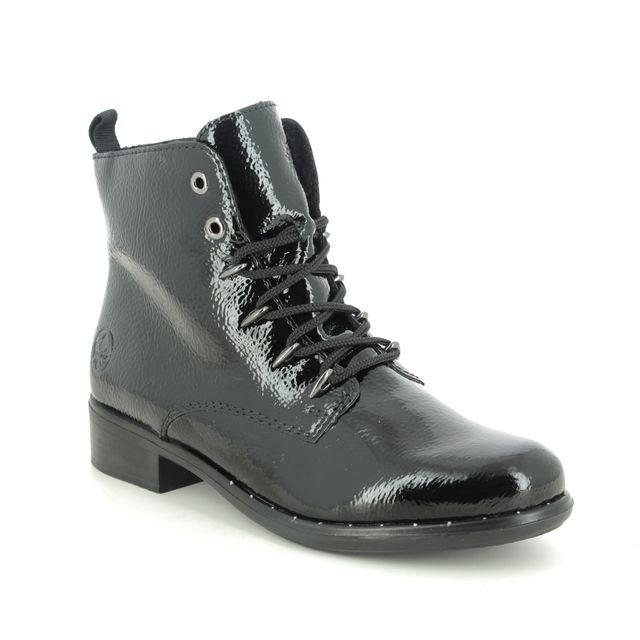 Rieker Lace Up Boots - Black patent - 77822-01 ASTOLA