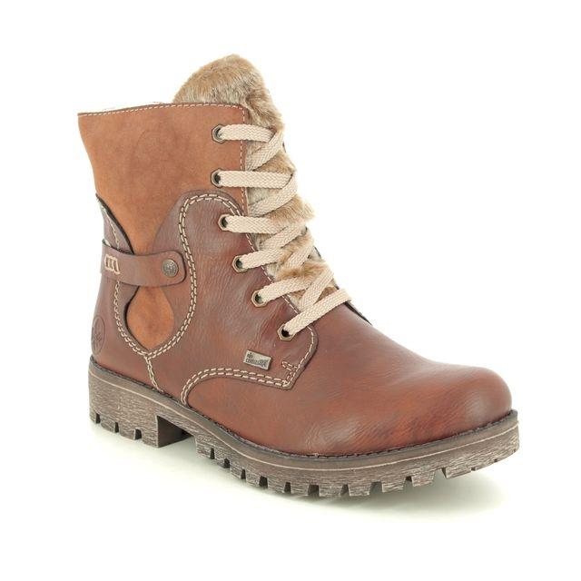 Rieker Lace Up Boots - Tan - 785G1-23 GAMPER TEX