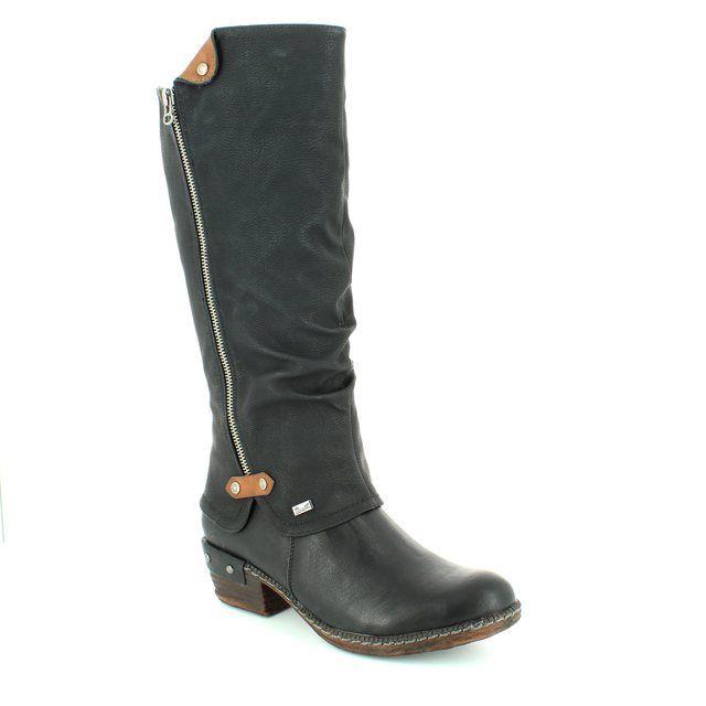 Rieker Knee-high Boots - Black - 93655-00 BERNALO TEX