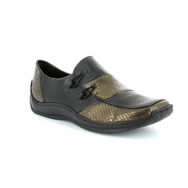 Rieker L1762-25 Black/brown lacing shoes