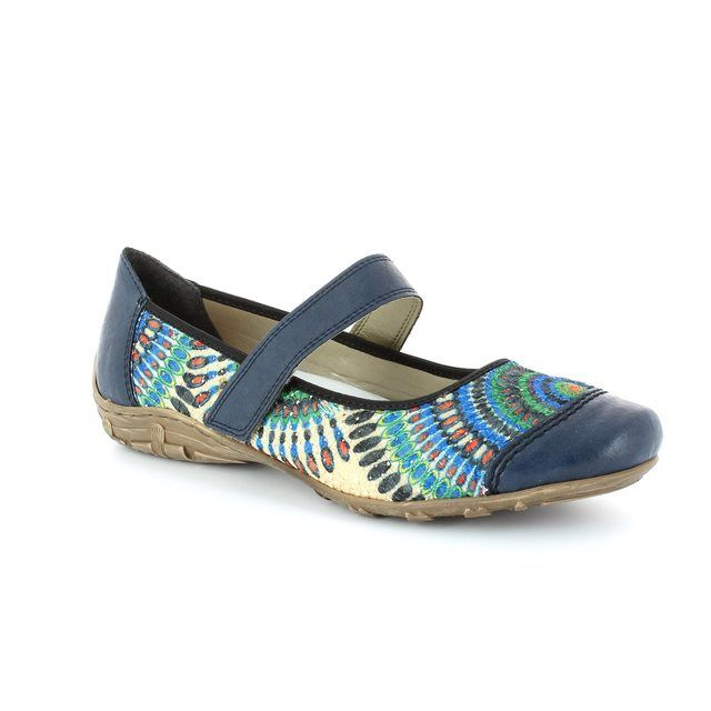 Rieker L2072-14 Navy multi floral or fabric lacing shoes