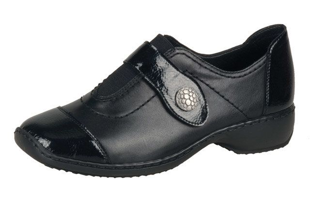 Rieker L3880-00 Black patent lacing shoes