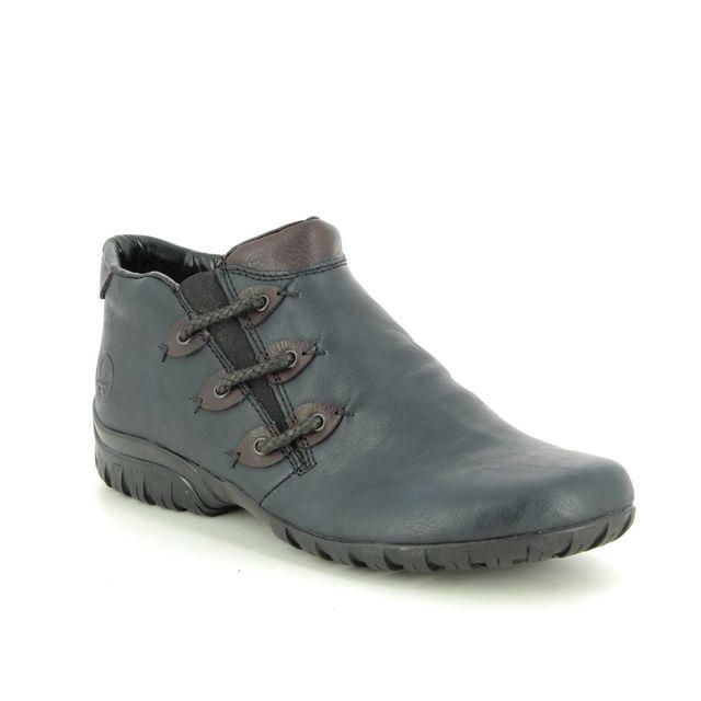Rieker Comfort Slip On Shoes - Navy-Tan - L4689-14 BIRBOZA