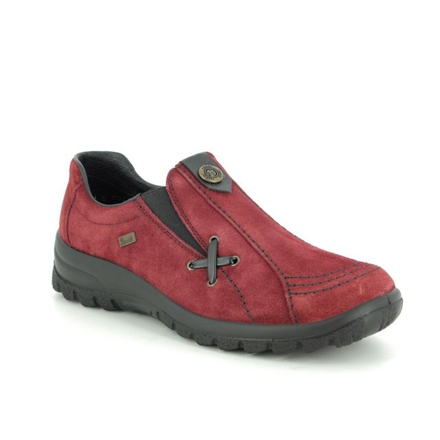 Rieker Comfort Slip On Shoes - Red suede - L7171-35 EIKESU TEX