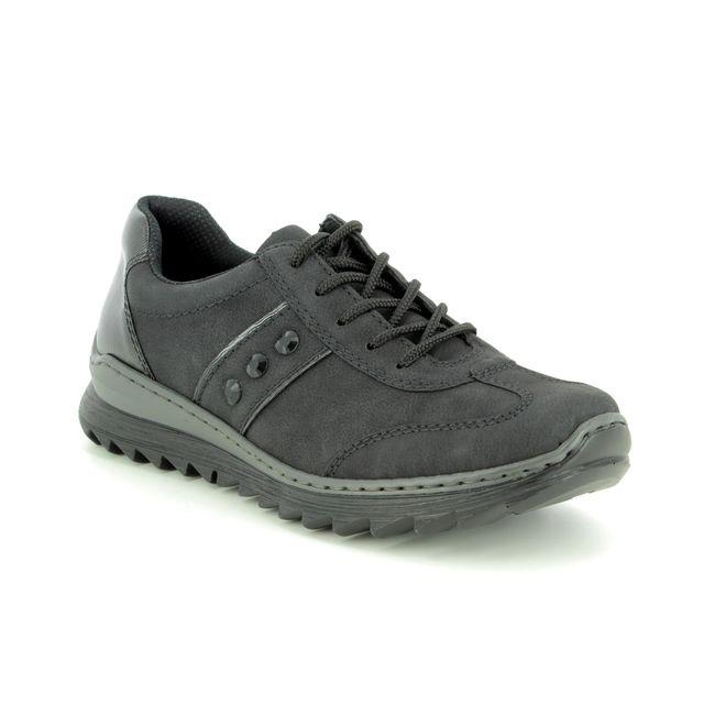 Rieker Lacing Shoes - Black - M6214-00 ZIGWAST