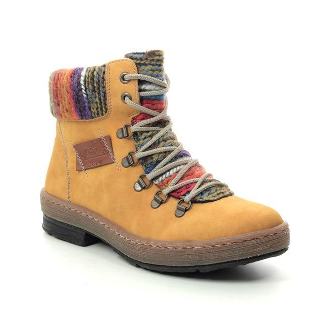 Rieker Lace Up Boots - Yellow - Z6743-68 POLARPEEPS