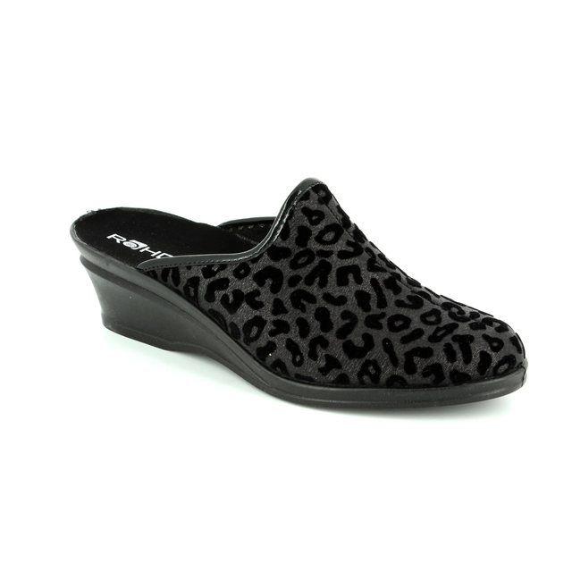 Rohde Sparky 2374-90 Black multi slipper mules