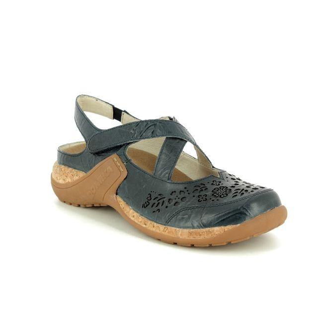 Romika Mary Jane Shoes - Navy - 10185/40530 MILLA  125 CROS