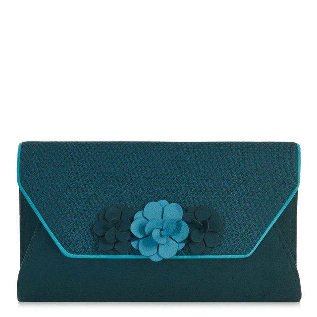Ruby Shoo Valencia Eva 50061-70 Petrol blue matching handbag