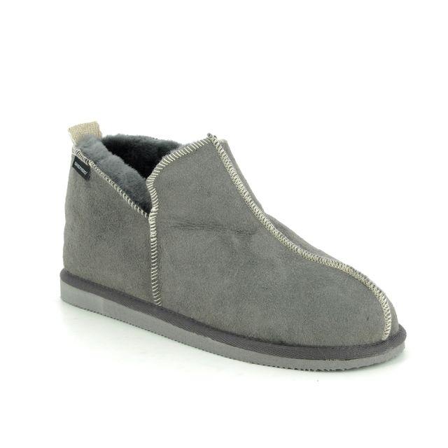 Shepherd of Sweden Slippers - Grey matt leather - 15421016 ANDY