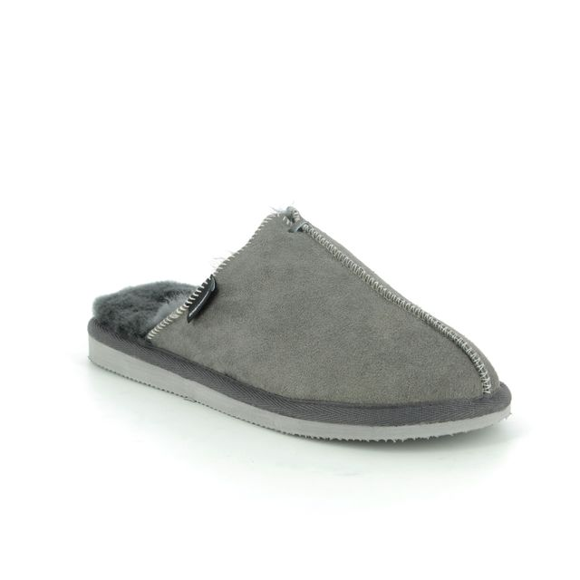 Shepherd of Sweden Slippers - Grey matt leather - 1202016 KARLA