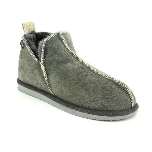 Shepherd of Sweden Slippers - Grey leather - 015422 LOUISE