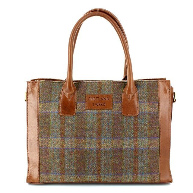 Shetland Tweed Handbag - Tan multi - 0801/20 LGE GRAB