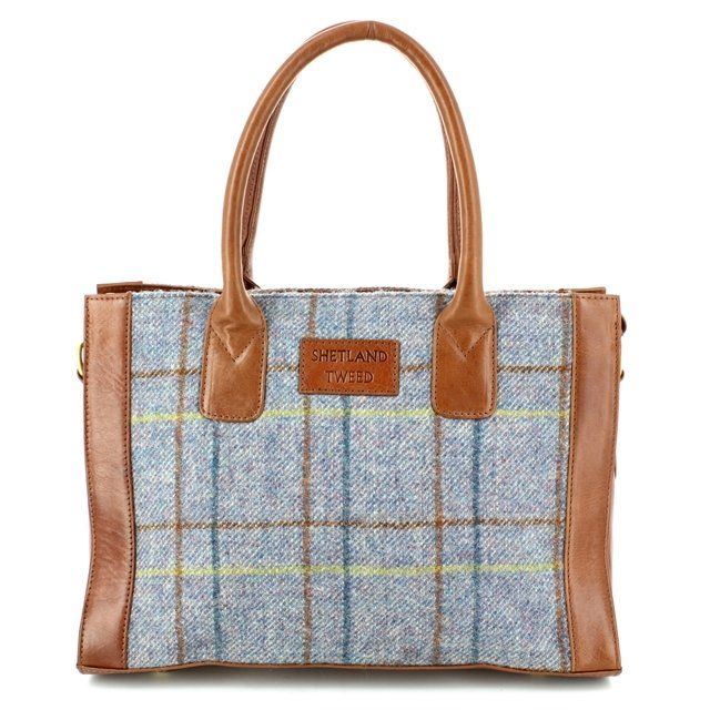 Shetland Tweed Handbag - Blue multi - 0801/70 LGE GRAB