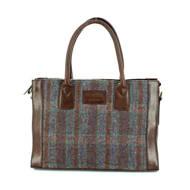 Shetland Tweed Lge Grab 0801-90 Purple multi handbag
