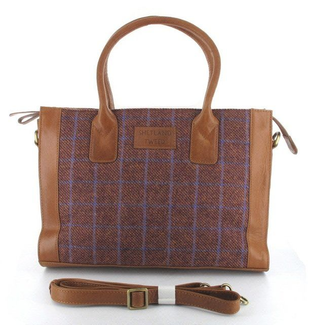 Shetland Tweed Lge Grab Tweed 0001-80 Burgundy handbag