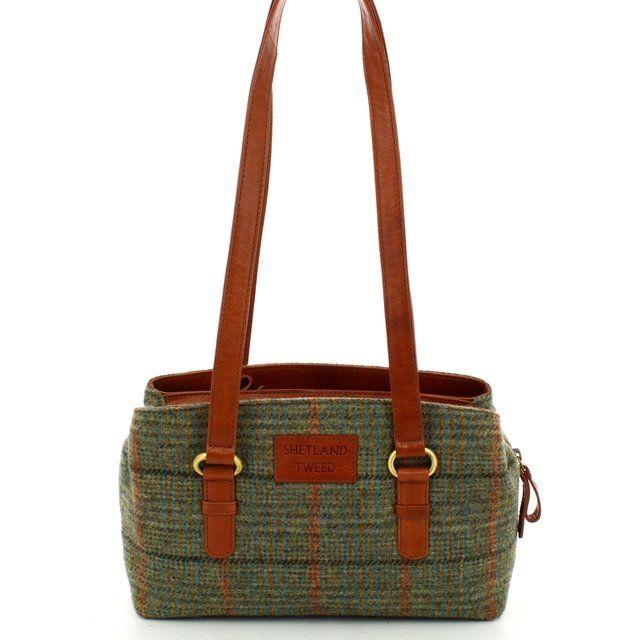 Shetland Tweed Zip 0501-90 Green handbag