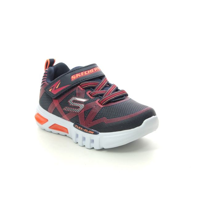 Skechers Trainers - Navy Red - 90542N FLEX GLOW INF