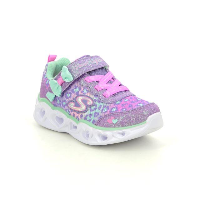 Skechers Heart Lights In 302088N Lavender girls trainers