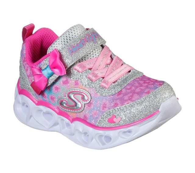 Skechers Trainers - Silver hot pink - 302088N HEART LIGHTS INF