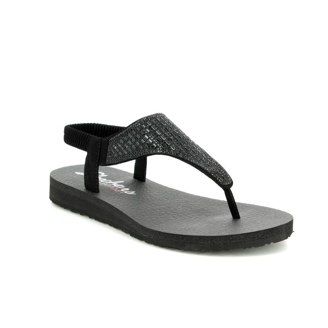 c5aa0a17693 Skechers Meditation Rock Crown 31560 BBK Black Flat Sandals