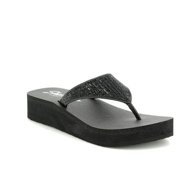 Skechers Vinyasa Tiger 31601 BBK Black Toe Post Sandals
