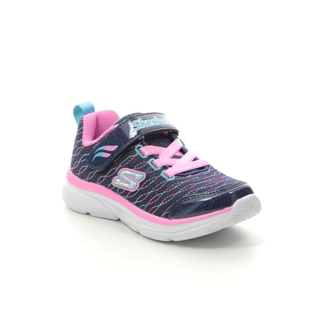 Skechers First Shoes - Navy Pink - 81378 WAVY LITES INF