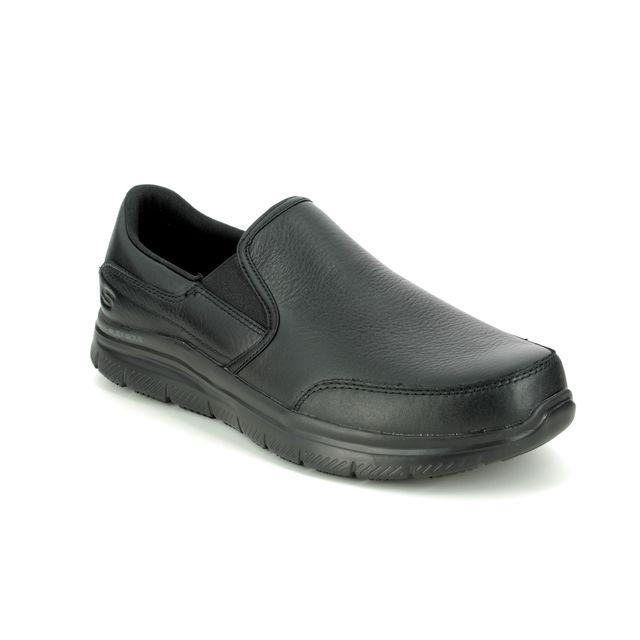 Skechers Slip-on Shoes - Black - 77071 WORK LEATHER SLIP RESISTANT