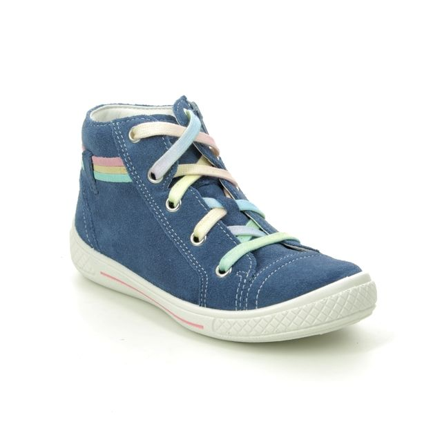 Superfit Tensy High 00092-80 Blue Suede school shoes