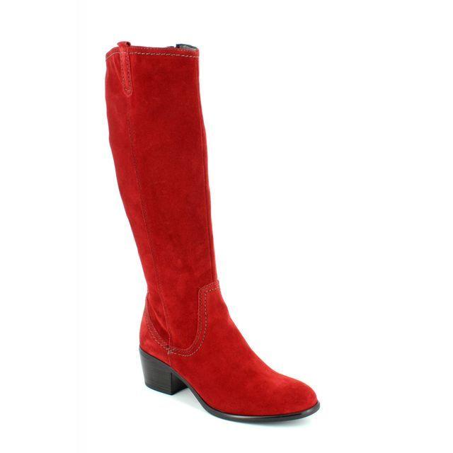Tamaris 25537-501 Red suede knee-high boots