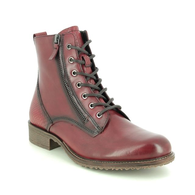 Tamaris Lace Up Boots - Red leather - 25211/25/591 ANOUK