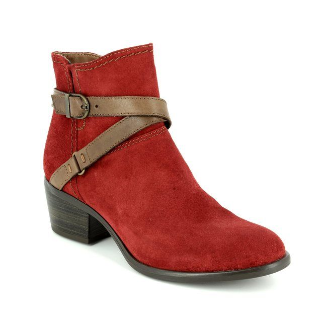 Tamaris Becka 25010-539 Red suede ankle boots