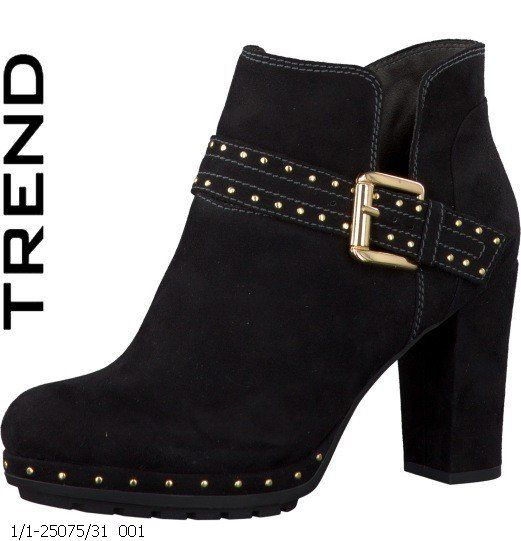 Tamaris Canava 25075-001 Black suede or snake ankle boots