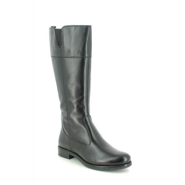 Tamaris Knee-high Boots - Black leather - 25582/25/001 CARI WIDE CALF