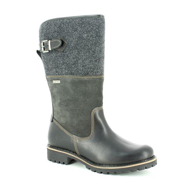Tamaris Knee-high Boots - Black leather - 26432/21/098 CASTLE TEX 85