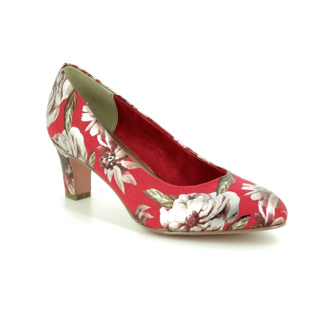 Tamaris Heeled Shoes - Red floral  - 22418/22/547 CAXIAS 91