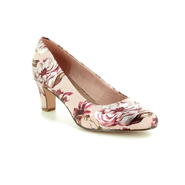 Tamaris Heeled Shoes - Pink multi floral or fabric - 22418/22/678 CAXIAS 91