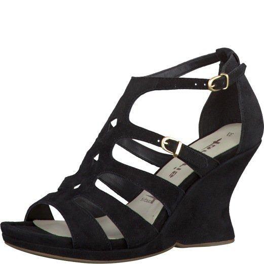 Tamaris Curve 28047-001 Black suede heeled shoes