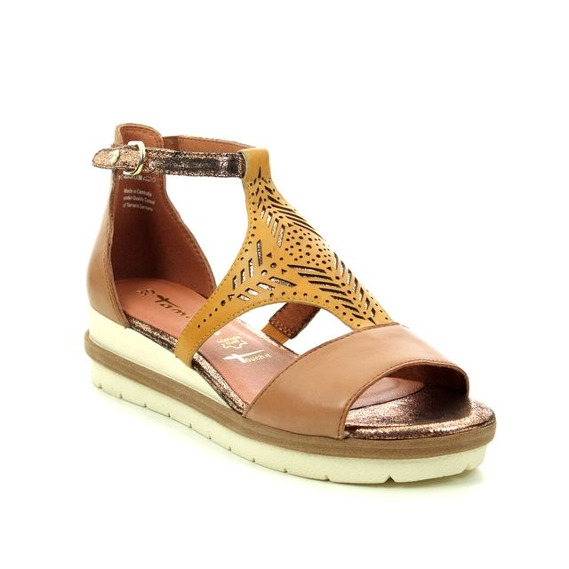 Tamaris Wedge Sandals - Tan Leather - 28228/24/694 EDA