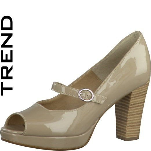 Tamaris Elena 29316-355 Taupe patent heeled shoes