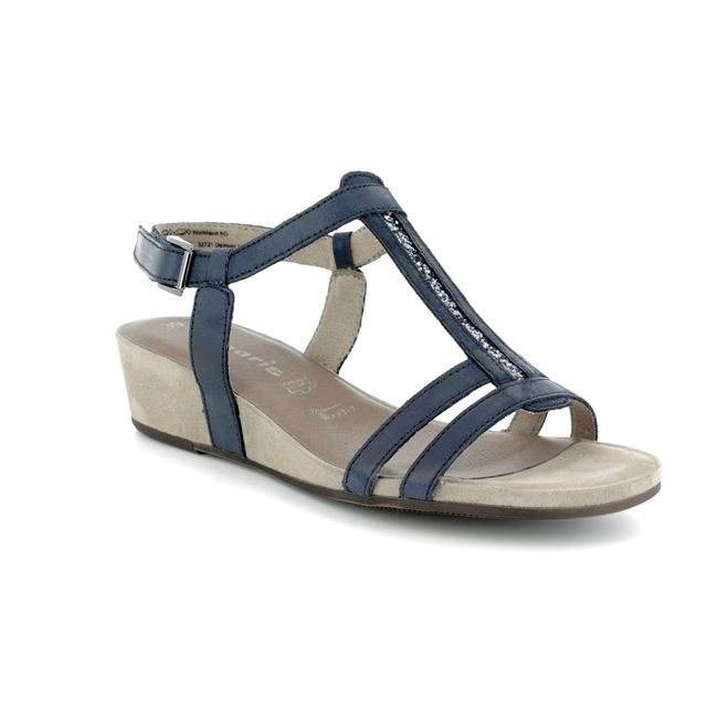 Tamaris Wedge Sandals - Navy nubuck - 28209/20/773 EMILY 81