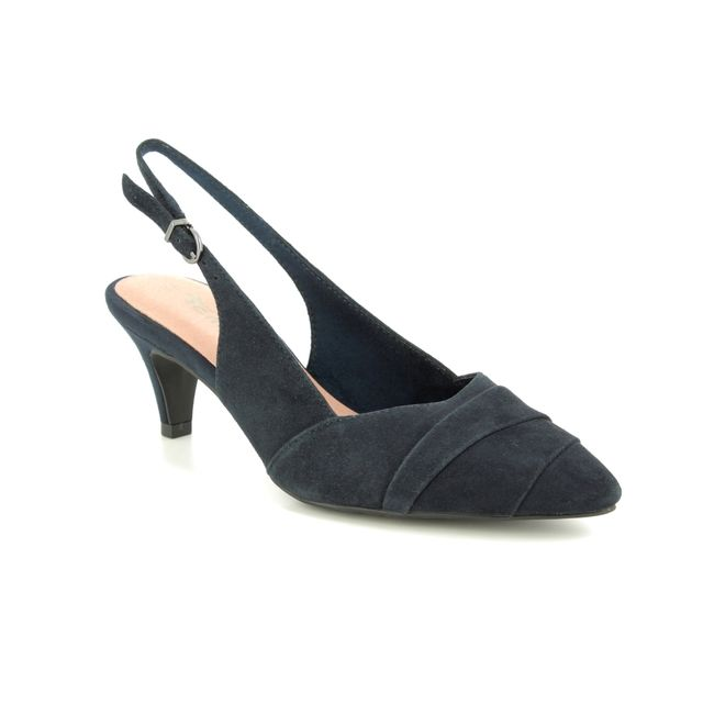 Tamaris Slingback Shoes - Navy Suede - 29616/32/805 FATSIA SLING