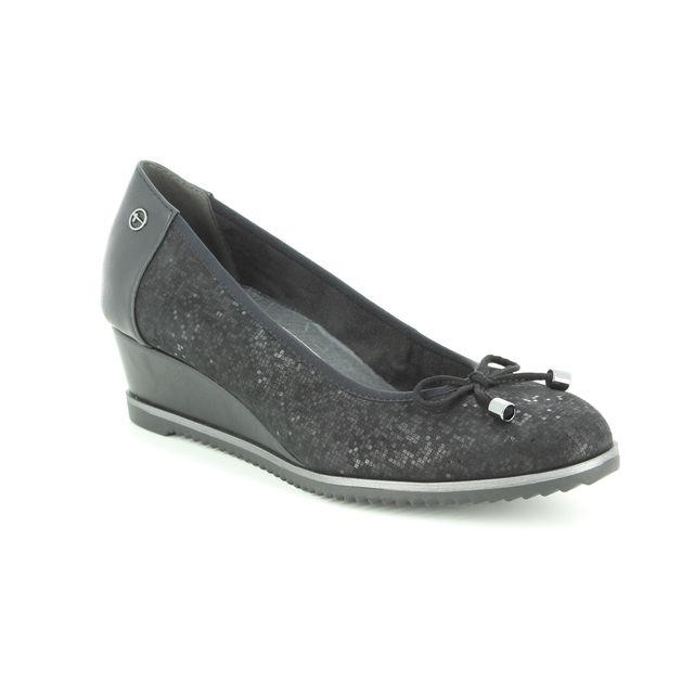 Tamaris Wedge Shoes - Black Suede - 22303/21/001 FELIZITAS