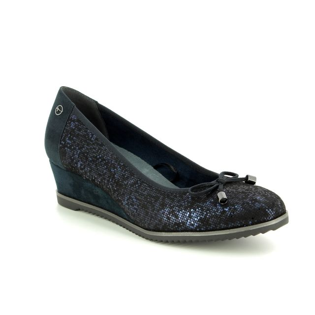 Tamaris Wedge Shoes - Navy Suede - 22303/21/890 FELIZITAS