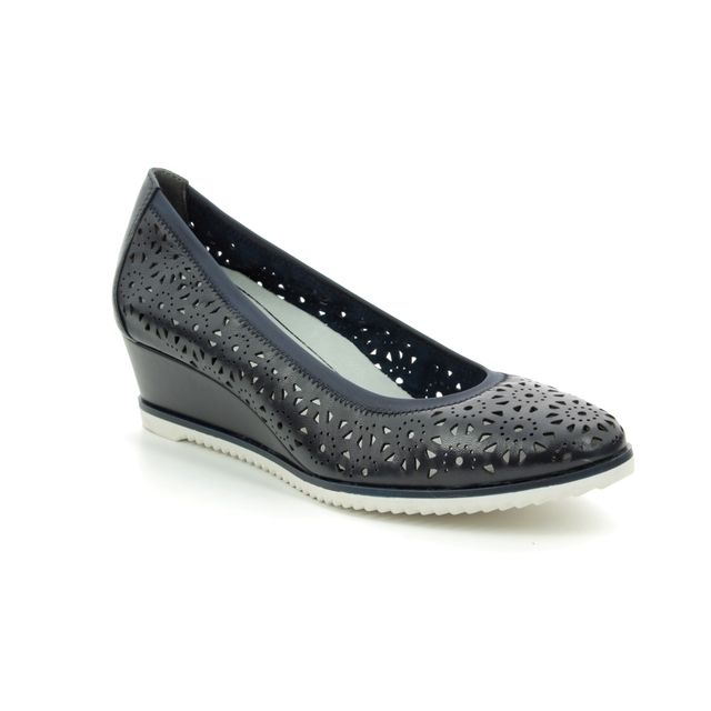 Tamaris Wedge Shoes - Navy Leather - 22312/32/805 FELIZITAS 92