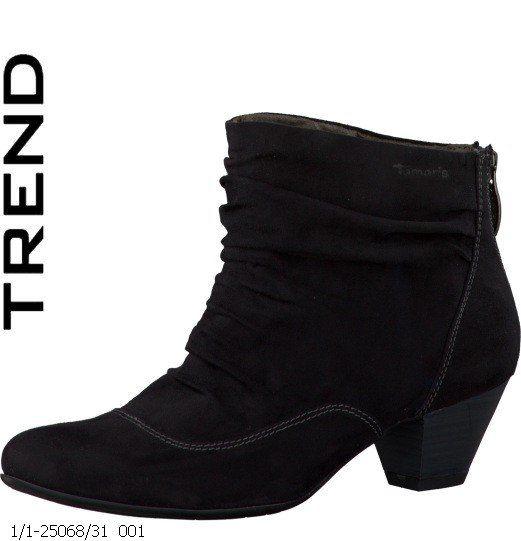 Tamaris Furlan 25068-001 Black suede or snake ankle boots