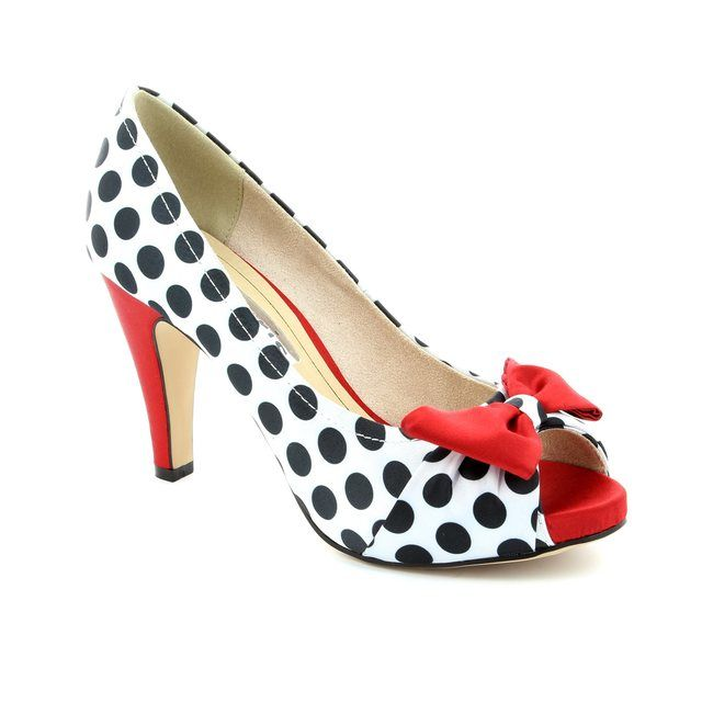 Tamaris Geiger 29300-026 Black white high-heeled shoes