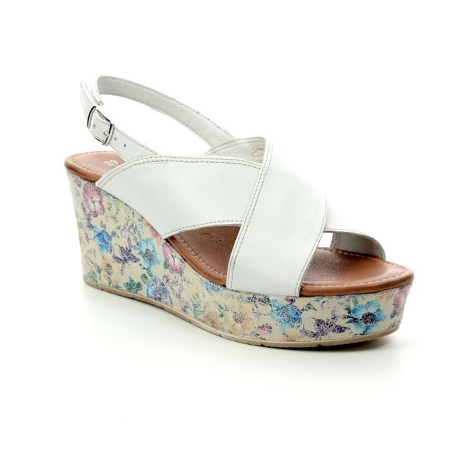 Tamaris Wedge Sandals - WHITE LEATHER - 28332/32/107 ILENE